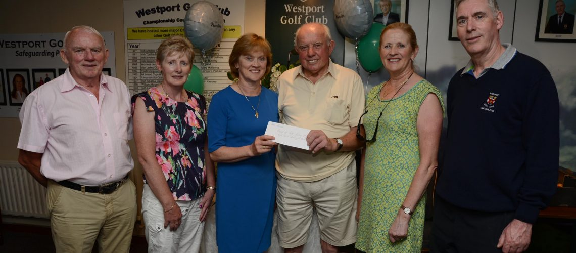 The team from the Castlecourt Hotel in Westport were the winners of the Croi golf AM AM at Westport G.C. Joe Gibbons chairman of the local friends of Croi branch presented the prizes to Anne Corcoran and Mary Mc Dermott in the company of Christy O' Malley committee, Maureen Keane Lady capt, and Martin Gillen Men's capt, unavoidable absent were team members Padraic Corcoran and Mark Reilly. Photo; Frank Dolan.