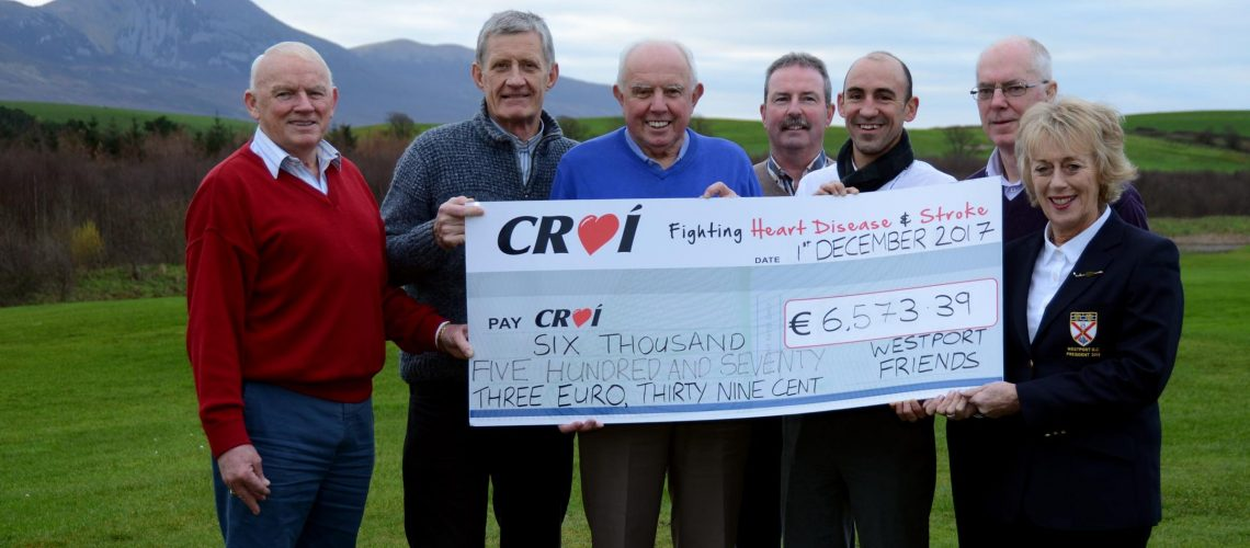 Westport Friends of Croí Golf AMAM Cheque Presentation