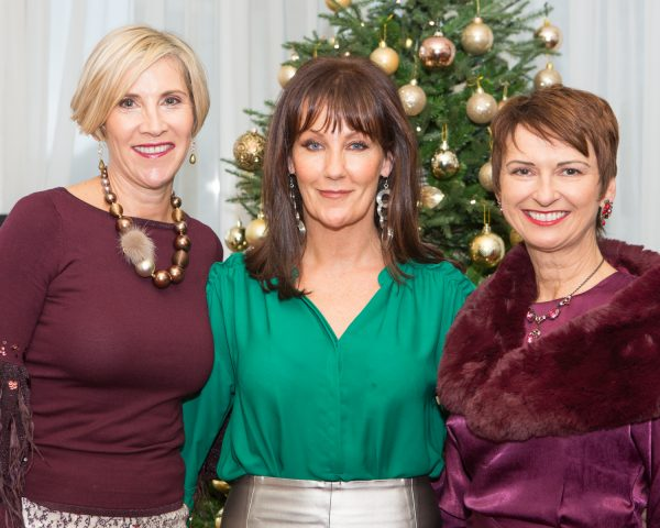 "Annette Walsh, Finula Cooke and Michelle Villereul pictured at Galway Clinics ""Afternoon Tea in aid of Croí"", at the Glenlo Abbey Hotel. Photo Martina Regan"