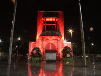 The Browne Doorway, Eyre Square Galway lit red for World Heart Day, 29th of September, 2019. Photo: Brian Harding.