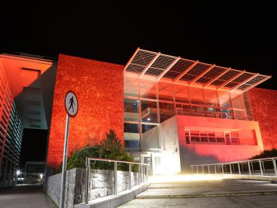 The Human Biology building, NUI Galway lit red for World Heart Day, 29th of September, 2019. Photo: Brian Harding.