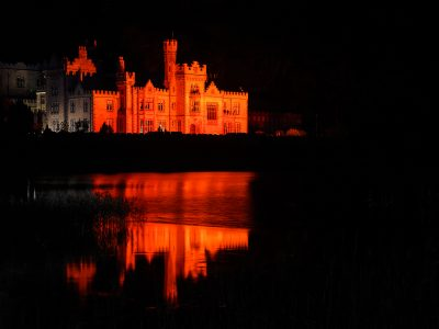 The award winning Kylemore Abbey, one of Galway's and Connemara's most recognised buildings worldwide lights up Red for World Heart Day on Sunday 29th of September, in association with will Croí, the heart and stroke charity. Photo Aoife Herriott