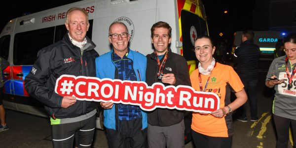 Well done to Daragh O'Reilly, son of Kevin O'Reilly - Croí's Board Chairman, who crossed the finish line first with an incredible time of 16:55 at the Croí 5th Annual Night Run! Pictured from left: Neil Johnson, Croí CEO; Kevin O'Reilly, Croí Board Chairman; Daragh O'Reilly; and Irene Gibson, Croí Director of Programmes.