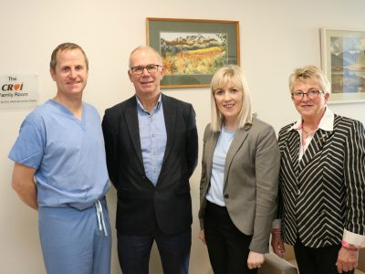 Dr Briain MacNeill, Consultant Cardiologist; Kevin O'Reilly, Chairman, Croí; Chris Kane, General Manager, Galway University Hospitals (GUH); and Geraldine Murray, Director of Nursing, GUH at the official opening of the Croí Family Room in the hospital's Coronary Care Unit.