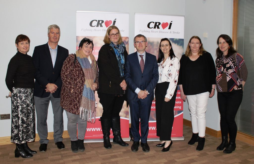 Pictured at Croí's World Stroke Day event on Oct 29, from left: Patricia Hall, Croí's Cardiovascular Nurse Specialist; Tom Greaney, Chief Operating Officer, Surmodics; Nórita Ní Chartúir, NUIG (Speaker); Dr Michelle Canavan, UHG; Dr Tom Walsh, UHG; Irene Gibson, Croí's Director of Programmes; Dr Karen Doyle, PI: Neurovascular Stress and Neuroprotection Research Group, CURAM; Mary Deely, Film Programme Project Manager, CURAM.